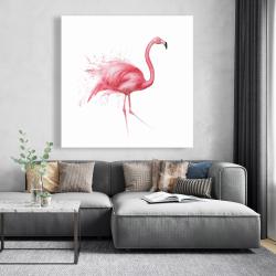 Canvas 48 x 48 - Pink flamingo watercolor