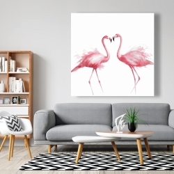 Canvas 48 x 48 - Two pink flamingo watercolor