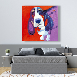 Canvas 48 x 48 - Abstract colorful basset dog