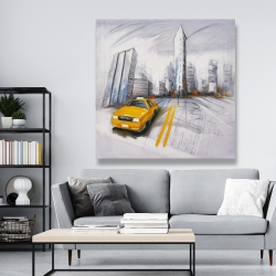 Canvas 48 x 48 - Yellow taxi and city sketch
