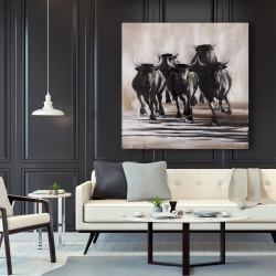Canvas 48 x 48 - Group of running bulls