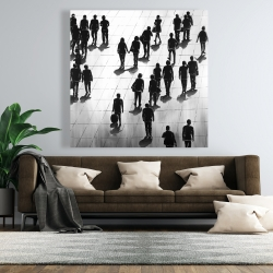 Canvas 48 x 48 - Silhouettes of people on the street