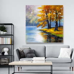 Canvas 48 x 48 - Two trees by the lake