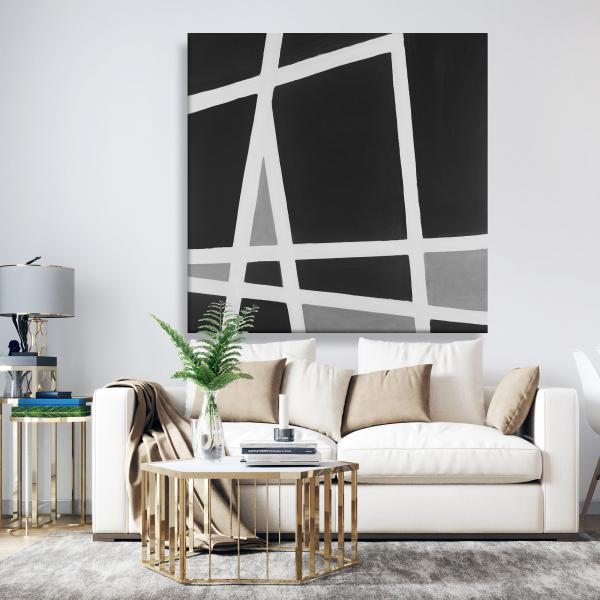 Canvas 48 x 48 - Black and white abstract shapes