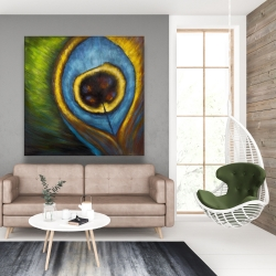 Canvas 48 x 48 - Peacock feather closeup
