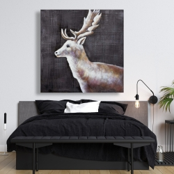 Canvas 48 x 48 - Deer profile view in the dark