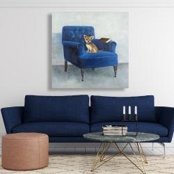 Canvas 48 x 48 - Chihuahua on a blue armchair