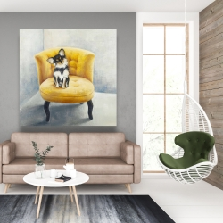 Canvas 48 x 48 - Long-haired chihuahua on a yellow armchair