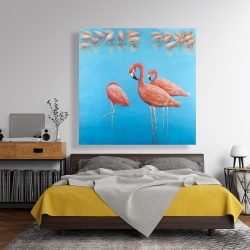 Canvas 48 x 48 - Group of flamingos