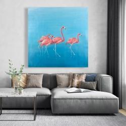 Canvas 48 x 48 - Four flamingos
