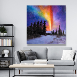 Canvas 48 x 48 - Aurora borealis in the forest