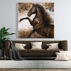 Canvas 48 x 48 - Horse rushing into the soil