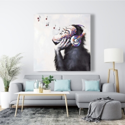 Canvas 48 x 48 - Monkey listening music
