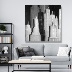Canvas 48 x 48 - Abstract black and white cityscape
