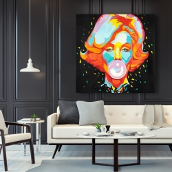 Canvas 48 x 48 - Colorful marilyne monroe bubblegum