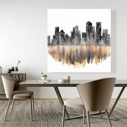 Canvas 48 x 48 - Yellow watercolor cityscape