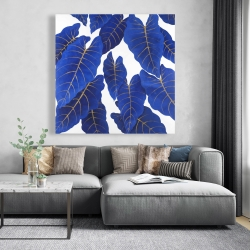 Canvas 48 x 48 - Tropical abstract blue leaves
