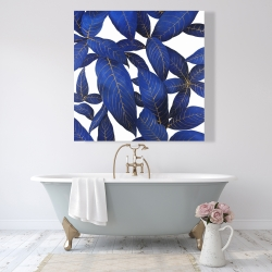 Canvas 48 x 48 - Abstract modern blue leaves