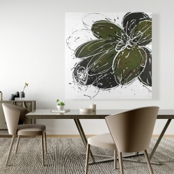 Canvas 48 x 48 - Green flower with splash outline