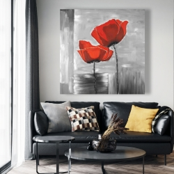 Canvas 48 x 48 - Two red flowers on a grayscale background