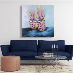 Canvas 48 x 48 - Funny pineapples with sunglasses