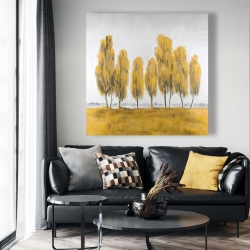 Canvas 48 x 48 - Seven abstract yellow trees