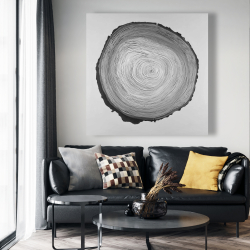 Canvas 48 x 48 - Grayscale round wood log