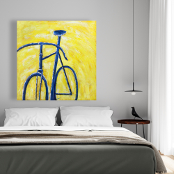 Canvas 48 x 48 - Blue bike on yellow background