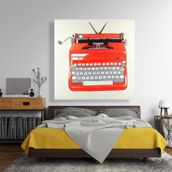 Canvas 48 x 48 - Red typewritter machine