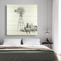 Canvas 48 x 48 - Vintage old texas windmill