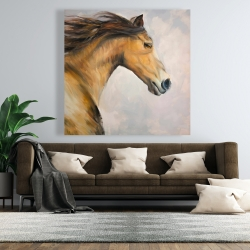 Canvas 48 x 48 - Proud steed with his mane in the wind
