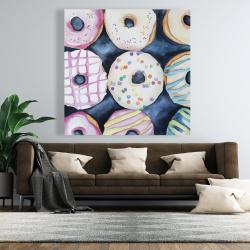 Canvas 48 x 48 - Watercolor delicious looking doughtnuts