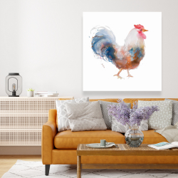 Canvas 48 x 48 - Watercolor rooster
