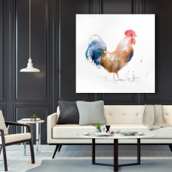 Canvas 48 x 48 - Rooster watercolor style