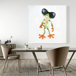 Canvas 48 x 48 - Funny frog with sunglasses
