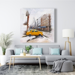 Canvas 48 x 48 - Taxi in the street sketch