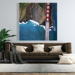 Canvas 48 x 48 - Overhead view of the golden gate and mountains