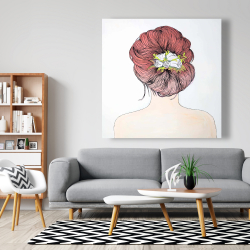 Canvas 48 x 48 - Lady with flowers in her hair