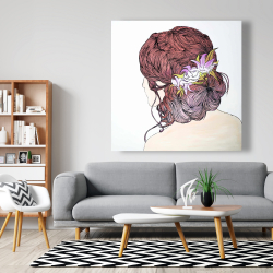 Canvas 48 x 48 - Woman from behind with flowers