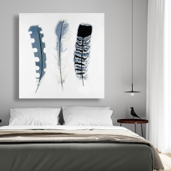 Canvas 48 x 48 - Delicate blue feathers