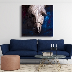 Canvas 48 x 48 - White horse on blue background
