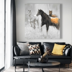 Canvas 48 x 48 - Abstract herd of horses