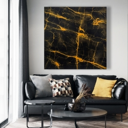 Canvas 48 x 48 - Black and gold marble texture