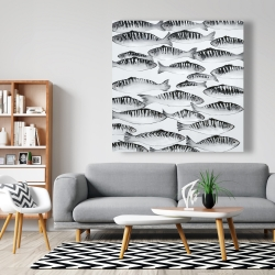 Canvas 48 x 48 - Gray shoal of fish
