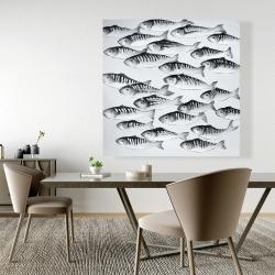 Canvas 48 x 48 - Gray school of fish