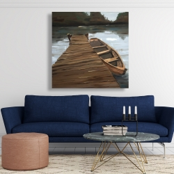 Canvas 48 x 48 - Lake, dock and boat