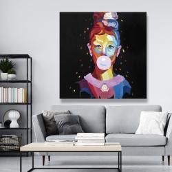 Canvas 48 x 48 - Colorful audrey hepburn portrait with bubblegum