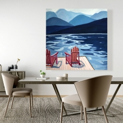 Canvas 48 x 48 - Lake, dock, mountains & chairs