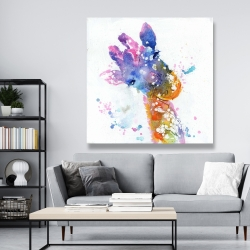 Canvas 48 x 48 - Abstract giraffe with color splash