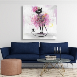 Canvas 48 x 48 - Cartoon cat with pink flowers